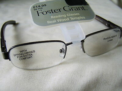 "Foster Grant""Defoe"" Metal Half Frame Reading Glasses RRP Upto £14.99 ..."