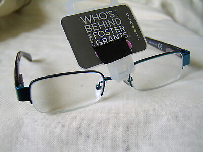 """Foster Grant """"Orwell""""Metal Half Frame Reading Glasses RRP Upto £12.50 From £4.99"""