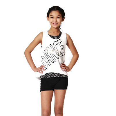 88ecb87469ad36 PINEAPPLE DANCEWEAR GIRLS Double Layer White Vest Top and AOP Print Vest