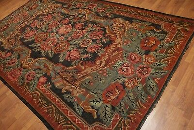 "7'2"" x 11'6"" Vintage Hand Woven Floral Tribal Turkish Kilim 100% Wool Area Rug"