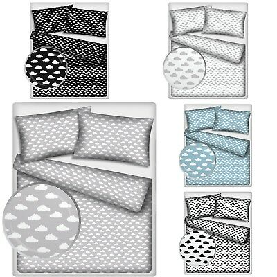 2 Pieces Baby Bedding Pram Crib Cot Toddler Bed Single Bed 100% Cotton CLOUDS