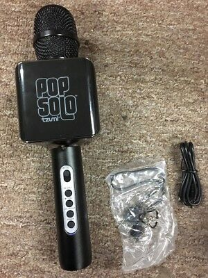 Pop Solo Karaoke Microphone Bluetooth Wireless Smart Phone Black Tzumi New
