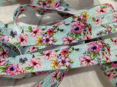 "1m/5m Vintage Floral Flowers on Blue FOE 5/8"" Fold Over Elastic Head Band"