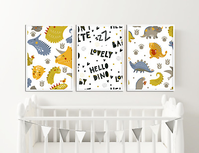 Dinosaur Nursery Pictures / Boys Bedroom Prints - Set of 3 / Decor Ideas