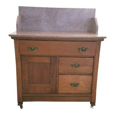 Eastlake late Victorian Rose Marble top Washstand with Galley, Commode c 1890