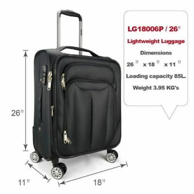 """Eaglemate 26"""" Luggage Suitcase Trolley Set  Travel Carry On Bag Soft Lightweight"""