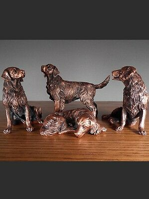 Set Of 4 Golden Retriever Dogs  Beautiful Bronze Statue / Sculpture Brand New