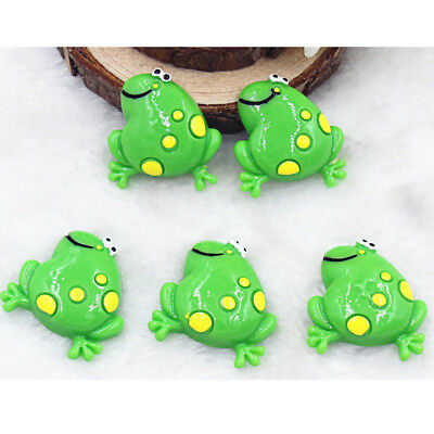 10pcs Green Frog Cartoon Resin Cabochon Flatback Craft Decoration 26mm