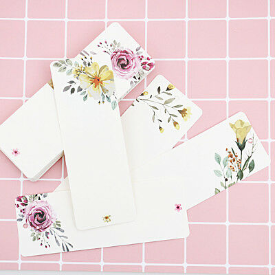40 PCs/lot School Supplies Bookmark Gift Tag Flower Pattern Vintage Word Card