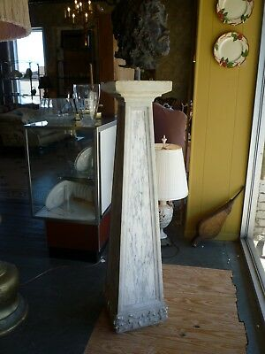 Antique Marble Tapered Column with Carved Floral Motif around base