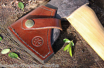 Hand-Made Leather Sheath For Wetterlings Foresters Fine Axe In Brown & Brass