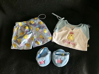 Build A Bear Clothes Chicks Rule Pjs Pajama Outfit Fuzzy Blue Crown Slippers Lot