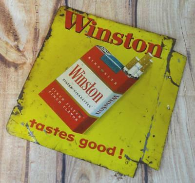 "Vintage WINSTON CIGARETTE Advertising Two Sided Metal Flange Sign 11"" x 13"""