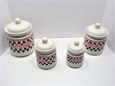 COCA COLA Canister Set w/ Lids Checkerboard Coke Design by GIBSON 4 Pieces