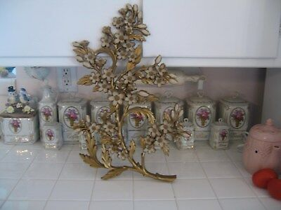Nice Vintage Mid Century Hollywood Regency Syroco Dogwood Blossom Wall Hanging