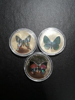 Congo Democratic Republic 2002 5 Francs Crown Butterfly  Lion set of 3 Wild Life
