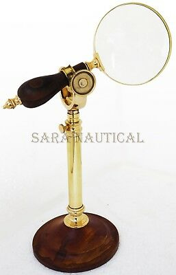 """Nautical Magnifying Glass With Brass/Wood Adjustable Desk Stand 4"""" Magnifier"""