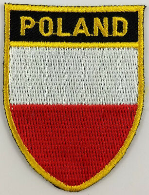 Poland Flag Shield Crest Patch Embroidered Iron On Sew On Applique Polish