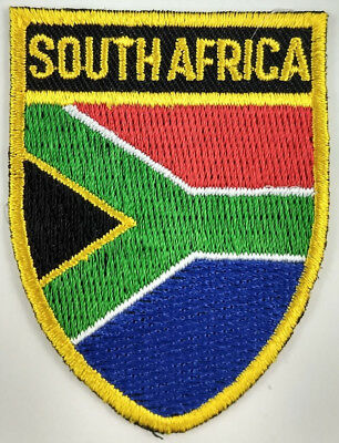 South Africa Flag Shield Crest Patch Embroidered Iron On Sew On Applique African