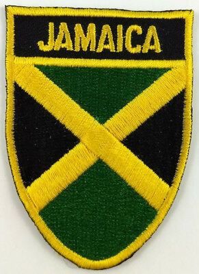 Jamaica Flag Shield Crest Patch Embroidered Iron On Sew On Applique Jamaican