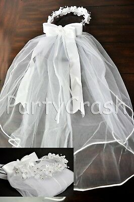 First Communion Girls White Veil Flowers Beads Rhinestones Headpiece Tulle