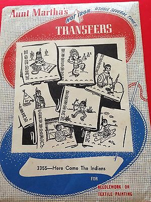 Vintage Hot Iron Transfer HERE COME THE INDIANS Aunt Martha UNUSED #3355