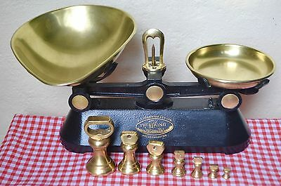 """Vintage English Kitchen Scales """"the Viking"""" Black Cast Iron 7 Brass Bell Weights"""