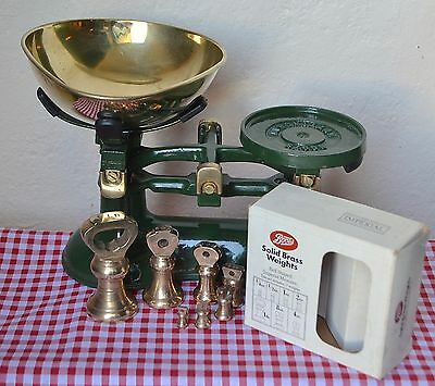Vintage English Scales Boots British Racing Green 7 Boots Boxed Bell Weights