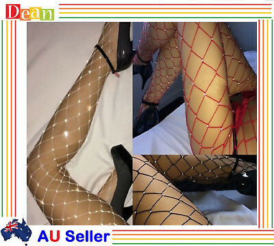 Women Crystal Rhinestone Fishnet Elastic Stockings Fish Net Tights Pantyhose New