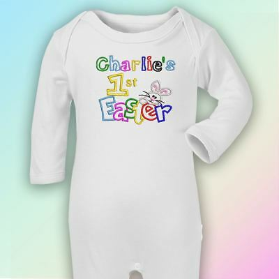 Name 1st Easter - Bunny Embroidered Baby Romper Babygrow Gift Personalised First