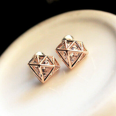 Diamond Shape Gold Plated Crystal Ear Studs Rhinestone Jewelry Earrings Gift