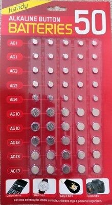 50 WATCH BATTERY BUTTON CELL BATTERIES Size AG 1 / 3 / 4 / 10 / 12 / 13