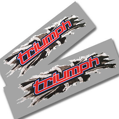 Union flag jack gray torn style Triumph Motorcycle  graphics stickers decals x2