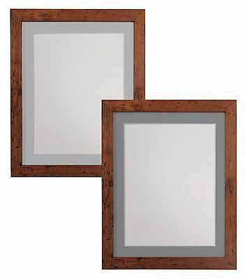 Vintage Wood Style Picture Photo Frames with Light Grey or Dark Grey Mounts H7