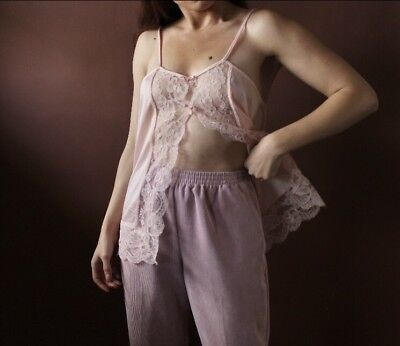 The Blush Camisole Pink Lace Cami Vtg Lingerie Top Bow Detail Open Front Medium
