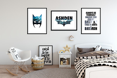 Personalised Name BATMAN PICTURES for Boys Bedroom A4 Prints Home Decor Set of 3