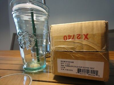 STARBUCKS 16 OZ. Recycled Glass Cold Cup Tumbler, + Lid + Straw, New in Box