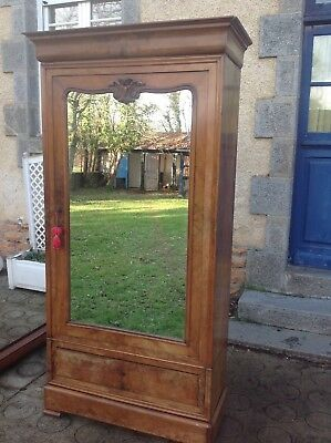 French antique vintage Louis Philippe style walnut wardrobe