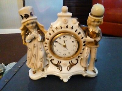 Germany Porzellanfabrik Carl Scheidig hand winding clock movement old, vintage