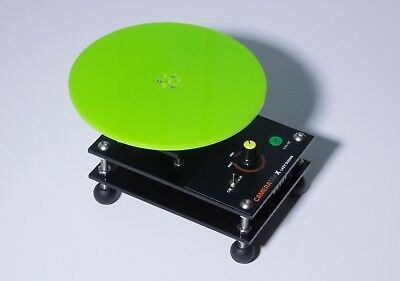 Motorised variable speed product turntable switchable direction