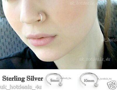 Sterling Silver Thin Small Open Nose Ring Hoop 0.6mm Cartilage Delicate Piercing