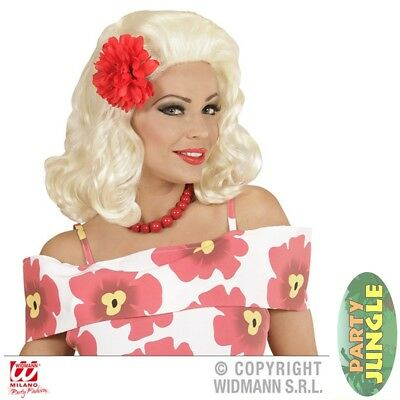 BLONDE ROCKABILLY 50'S PIN UP GIRL WIG RED ROSE Adults Fancy Dress Accessory