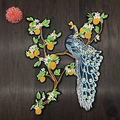 1pc Large Peacock Bird Embroidered Sew On Patch Fashion Applique DIY Dressmaking