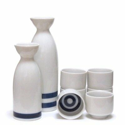 Traditional Japanese 2 Sake Bottles and 6 Sake Cups Set Mino Style Pottery Japan