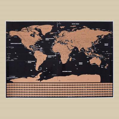 Black Deluxe Scratch Map Travel Scratch Off World Map Gift for Education School