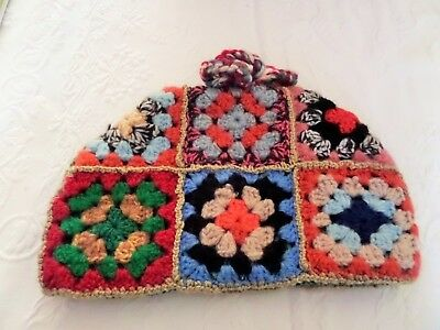 Vintage country Cottage CROCHET Tea cosy GRANNY BLANKET SQUARES 1970s