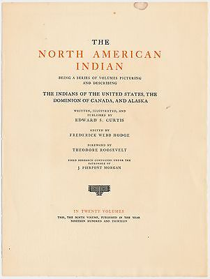 1913 Edward Curtis VOLUME 9 North American Indian Unbound WITH Frontis. Gravure