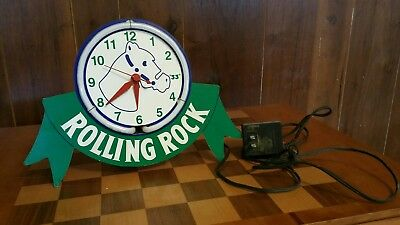 Vintage Rolling Rock Neon Bar Table Clock Sign Underwriters Latrobe Man Cave '97
