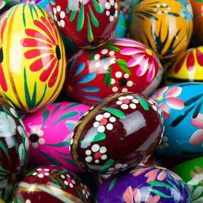 10 Easter Eggs Pisanki Pysanky Hand Painted Wooden Polish Pysanka Large Size Egg