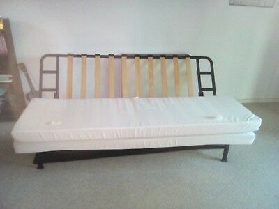 Ikea Double Sofa Bed Frame With Cream Futon Mattress Exarby Good Condition
